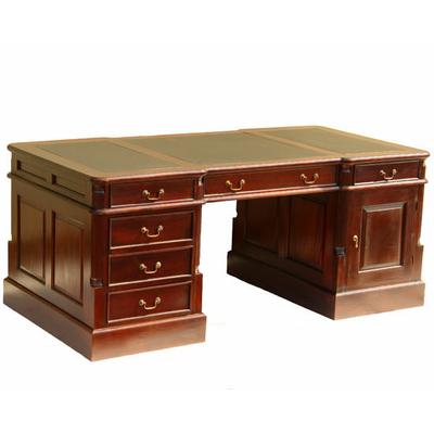 Bureau de style anglais 180 cm en acajou avec sous main for Bureau meuble notaire