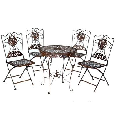 4 chaises et 1 table en fer forg brun mobilier et for Table chaise fer forge