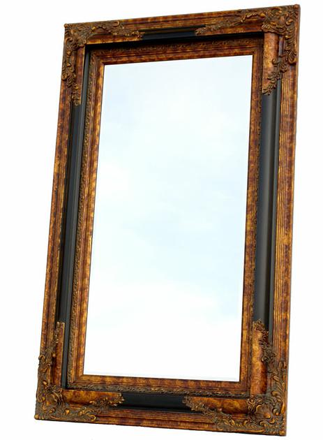 Miroir Baroque Cadre En Bois Noir Et Dor 152x92 Cm