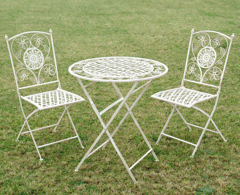 2 Chaises Et 1 Table En Fer Forg Blanc Antique Mobilier