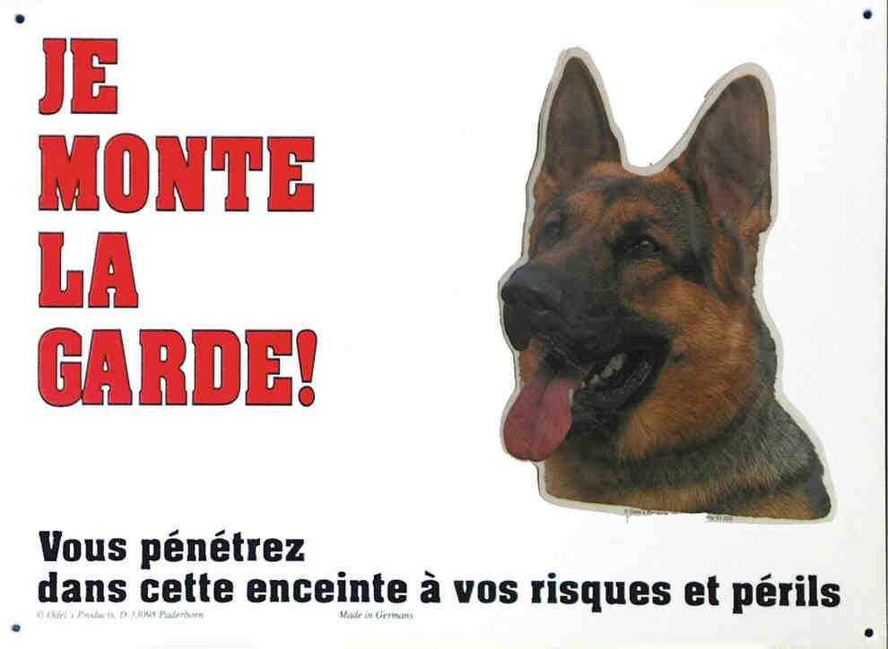 Pancarte chien BERGER ALL 26 cm X 19 cm - JE MONTE LA