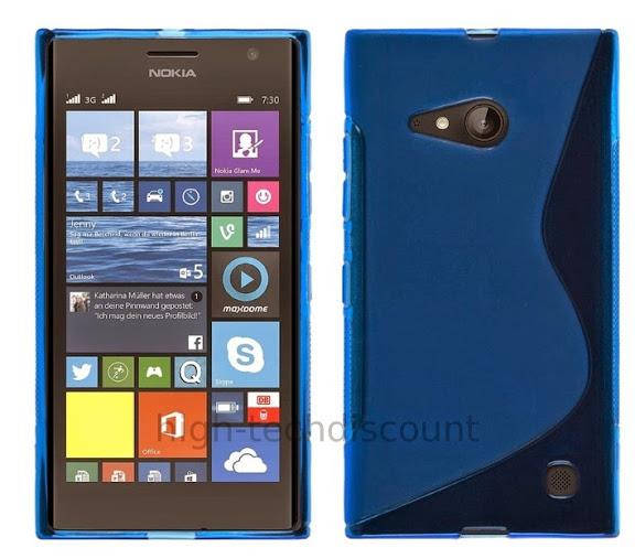 housse etui coque pochette silicone gel pour nokia lumia 730 735 ecran bleu