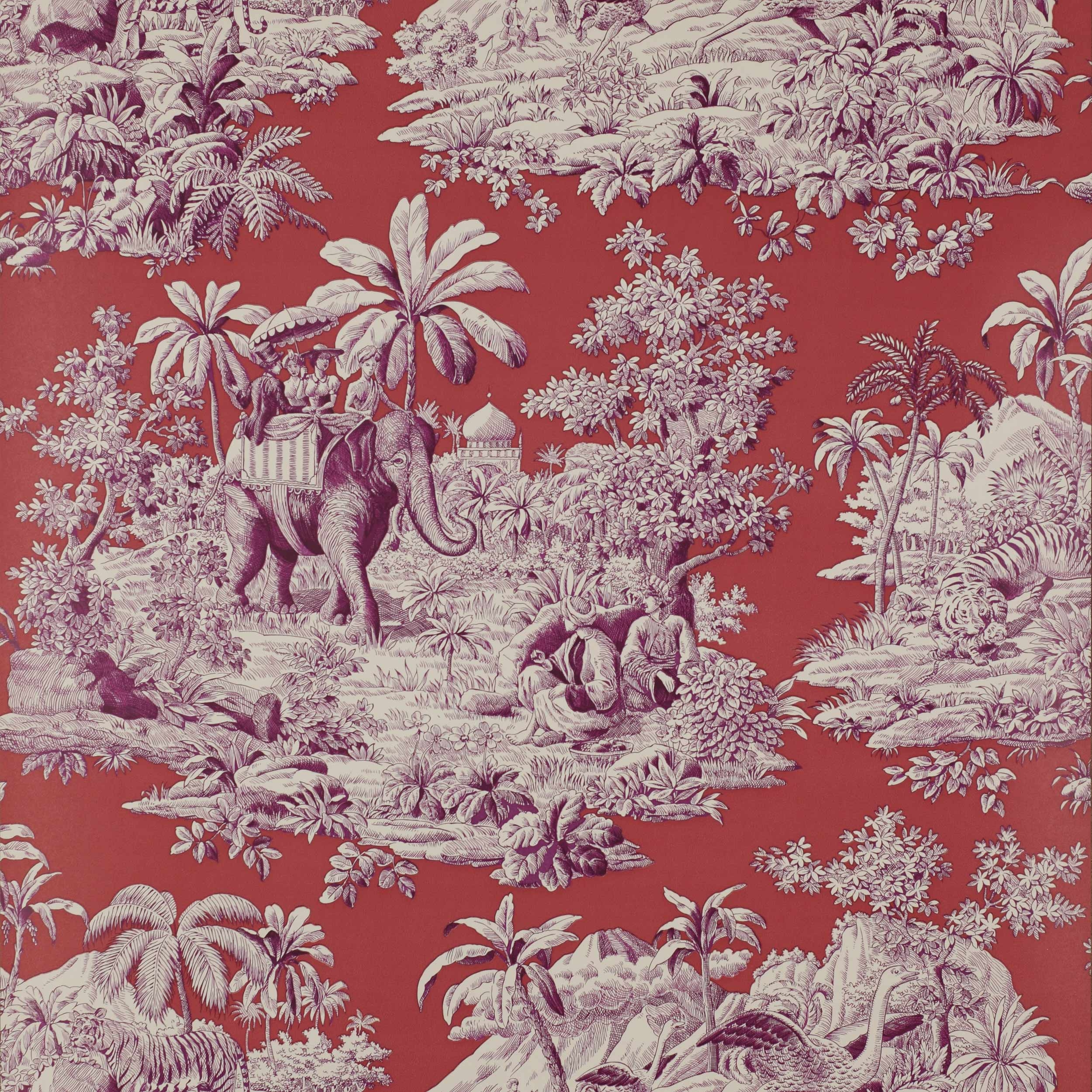 red french toile wallpaper