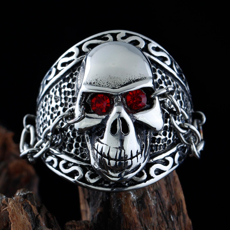 Bague acier cr ne t te de mort style motard biker gothique - Tete de mort style ...