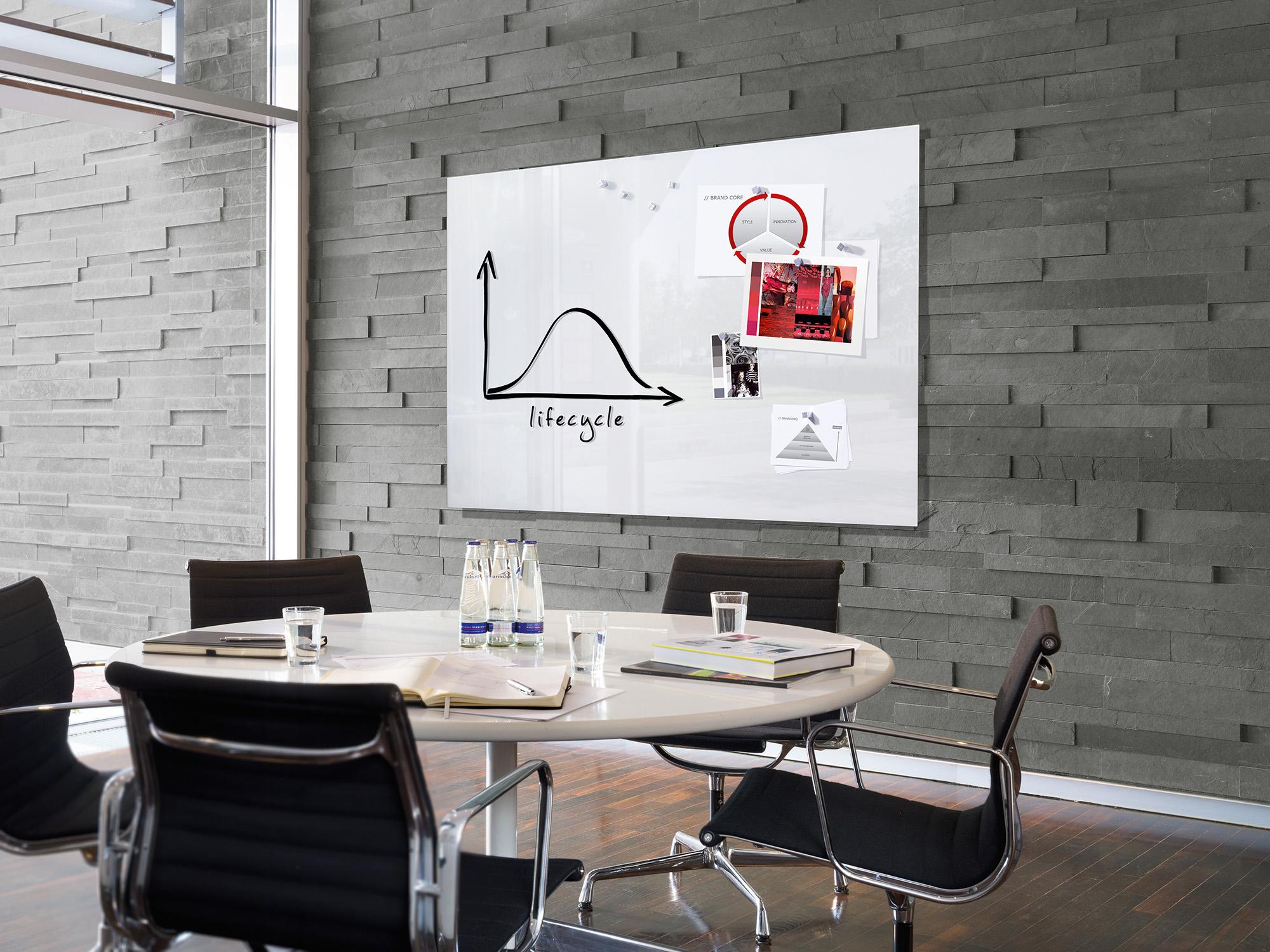 Tableau blanc magn tique en verre effa able et aimant for Decoration en ligne belgique