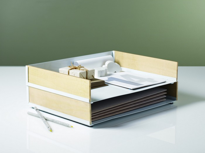 Casier pour bureau original (bannette en bois clair)  Kolloricom
