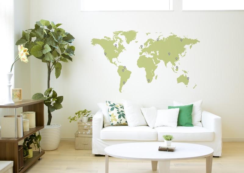 carte du monde 18 couleurs au choix stickers de bureau. Black Bedroom Furniture Sets. Home Design Ideas