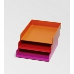 Bannettes de bureau orange, rose et rouge