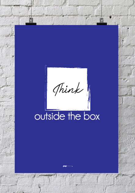 affiche pour bureau think outside the box poster innovation. Black Bedroom Furniture Sets. Home Design Ideas