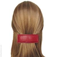 Barrette cheveux cuir rouge
