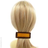 Barrette à cheveux feutrine jaune et brun
