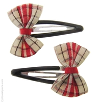 Barrettes clic clac noeud rouge
