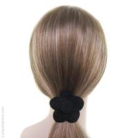 Élastique cheveux en passementerie fleur noire