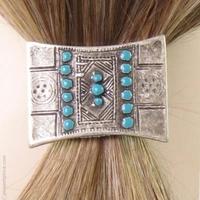 Catogan ethnique turquoise