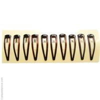 10 Barrettes cheveux clic clac moyennes couleur brun foncé