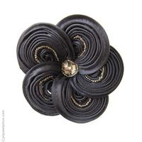 Catogan fleur en satin et perles