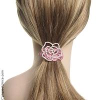 Élastique cheveux tissu rose poudré et camélia strass