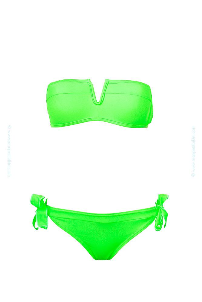 Baño Fluorescente Ninos:Traje de baño mujer bandeau escote V – Traje de baño precio bajo