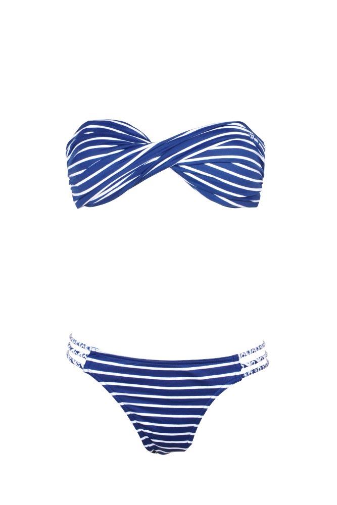 Trajes De Baño Azul Marino: Traje de baño de dos piezas tipo bandeau rayas azul marino Little Fun