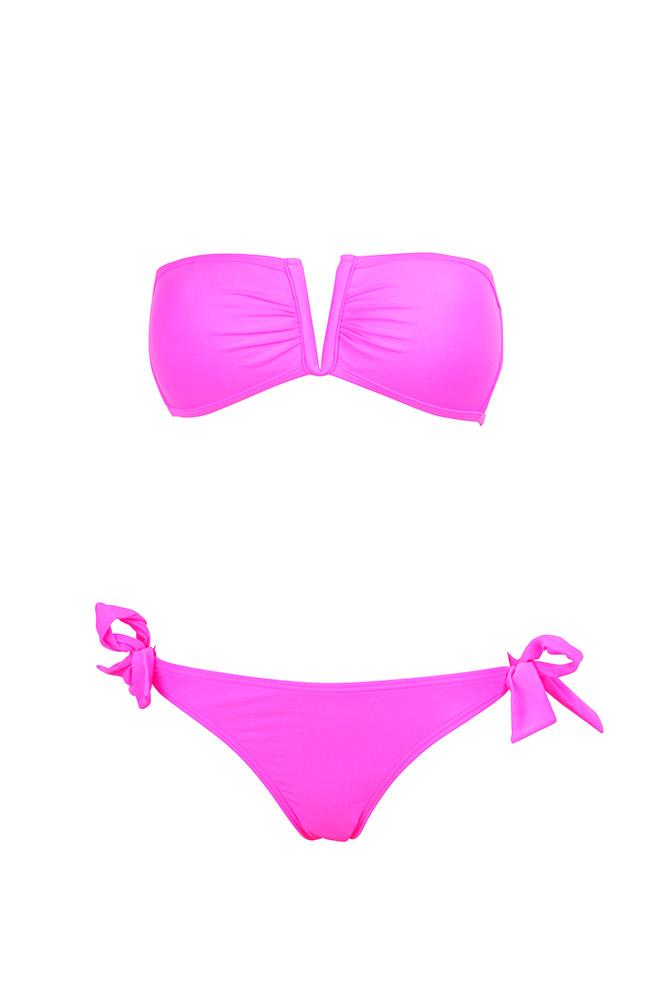 Baño Fluorescente Ninos:Traje de baño de dos piezas tipo bandeau cuello V rosa fluorescente