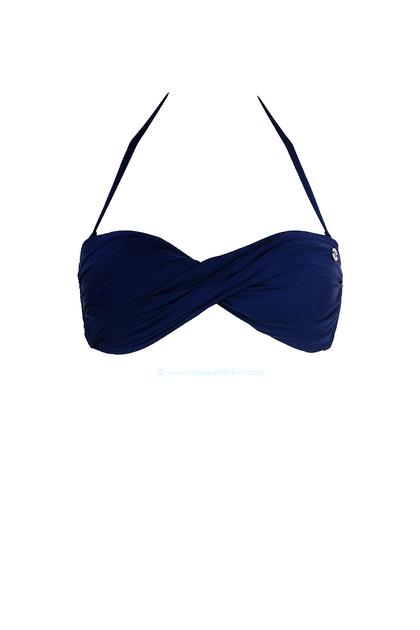 Trajes De Baño Azul Marino: Moon – Bandeau twist top de traje de baño azul marino Boro Satch