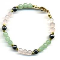Bracelet aventurine et quartz rose