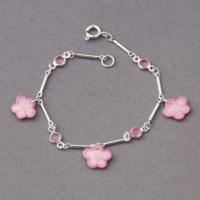 Bracelet fleurs roses et strass Ribambelle