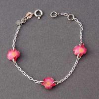 Bracelet enfant fleurs roses Ribambelle argent 925ème