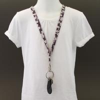 Tour de cou porte-clés en tissu Liberty Mitsi violet Lilooka
