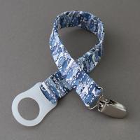 Attache tétine / sucette sans anneau Liberty Cars bleu Lilooka