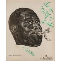 Louis ARMSTRONG - Photographie dédicacée et signée + Lettre de recommandation dactylographiée