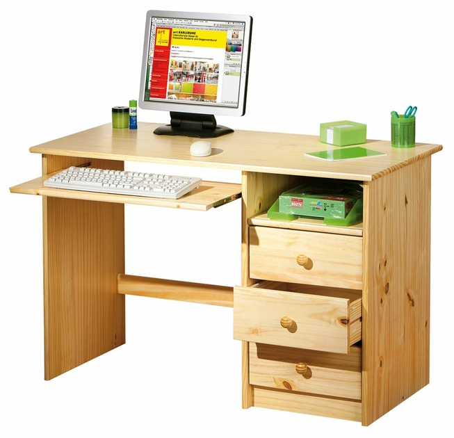 bureau informatique enfant pin massif sinus meubles bureau bureau informatique en bois. Black Bedroom Furniture Sets. Home Design Ideas