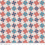DERNIER COUPON Tissu Stars and Stripes Moulins à vent 1m10 x 110 cm