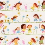 Tissu Line of Girls fond blanc 40x110 cm