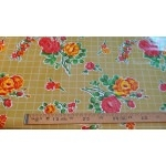 Toile cirée Kitch Kitchen roses fond gold 50x120 cm