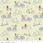 Tissu Dress up days Vélo fond vert anis 20x110 cm