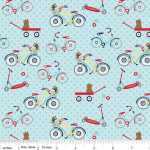 Tissu Dress up days Vélo fond bleu 20x110 cm