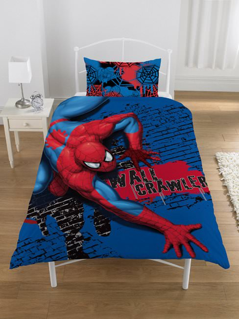 housse de couette spiderman 140 x 200 cm parure de lit wall crawler decokids. Black Bedroom Furniture Sets. Home Design Ideas