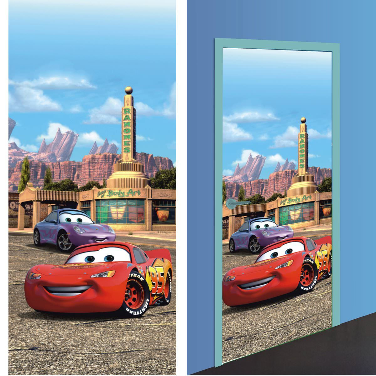 disney cars 2 d coration murale poster de porte papier peint 202x90 cm disney cars. Black Bedroom Furniture Sets. Home Design Ideas
