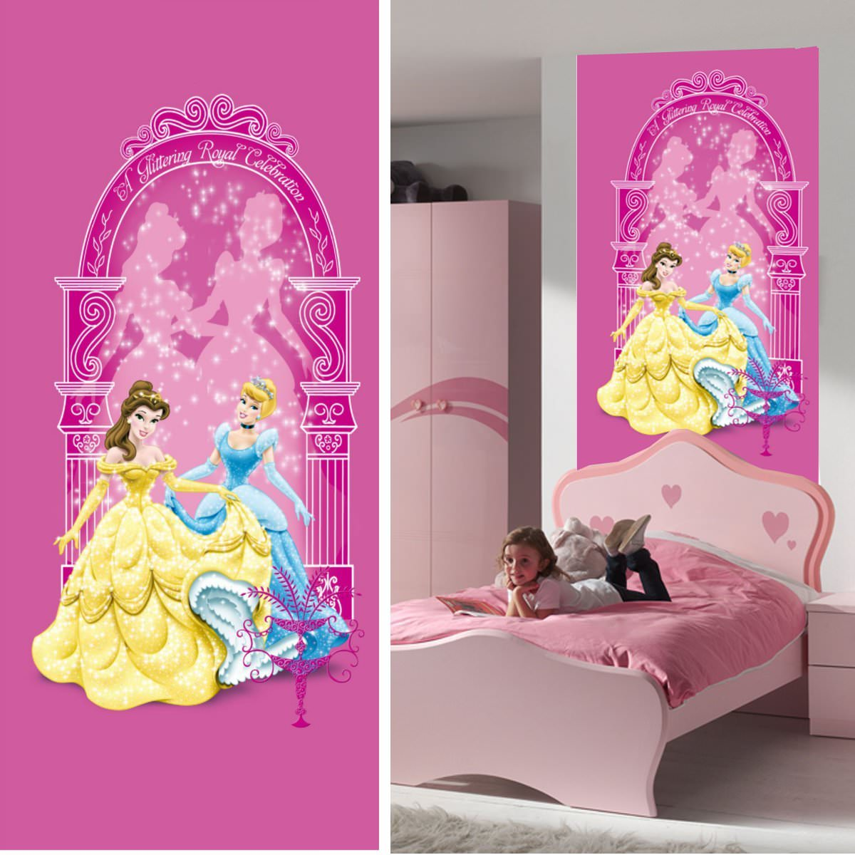 disney princesse d coration murale poster de porte papier peint disney princesse 202x90 cm. Black Bedroom Furniture Sets. Home Design Ideas