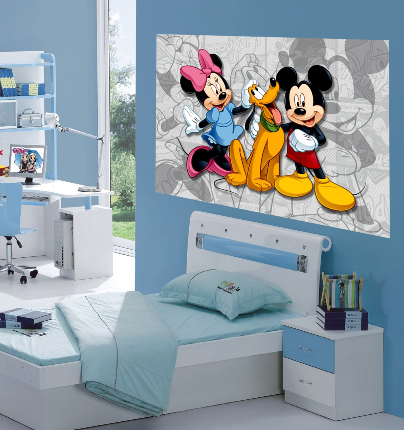 mickey minnie d coration murale maxi poster papier peint 160x115 cm minnie decokids. Black Bedroom Furniture Sets. Home Design Ideas