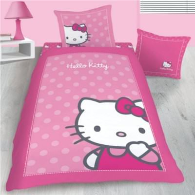housse de couette hello kitty 140 x 200 cm en flanelle parure de lit camille d cokids. Black Bedroom Furniture Sets. Home Design Ideas