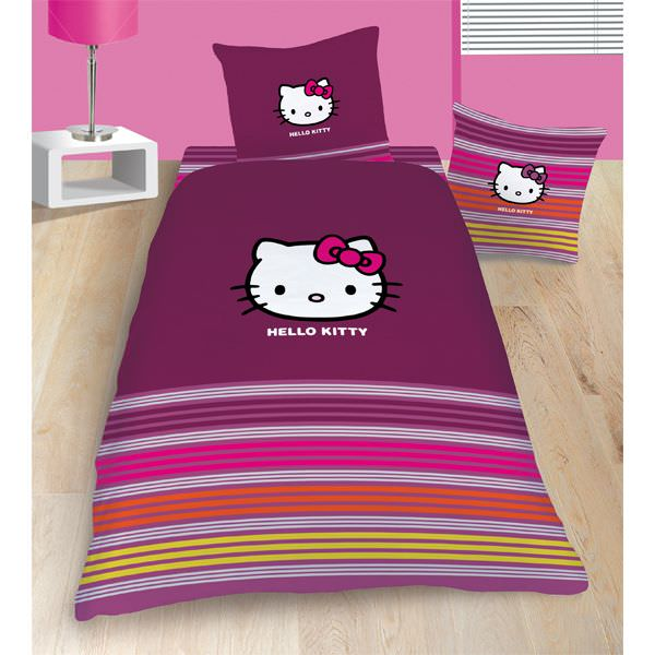 housse de couette hello kitty 140x 200cm parure de lit. Black Bedroom Furniture Sets. Home Design Ideas