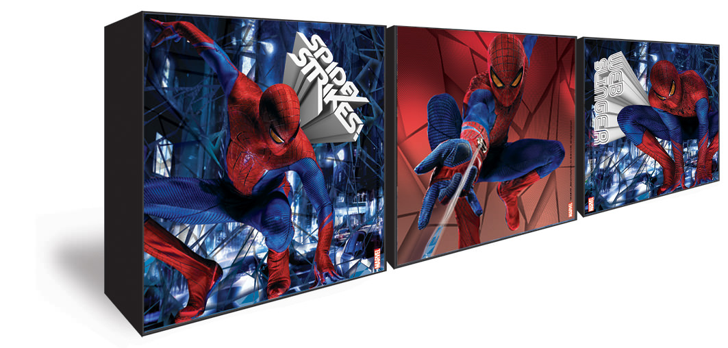 Spiderman d coration murale 3 petits cadres the for Decoration chambre spiderman