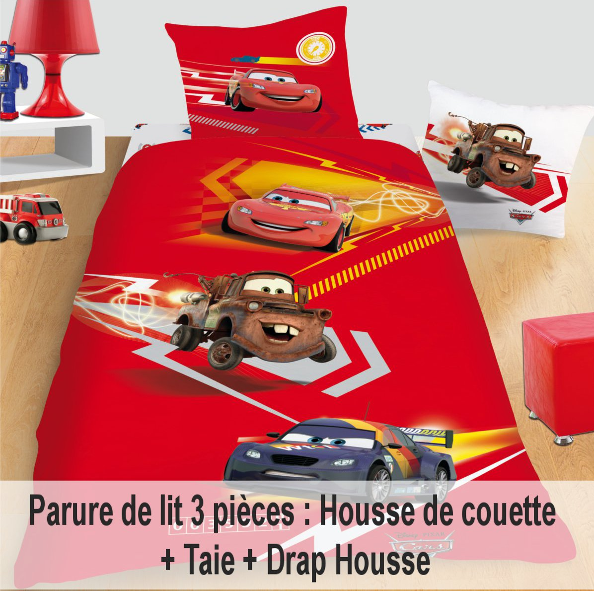 disney cars 2 parure de lit 3 pi ces housse de couette taie drap housse disney cars. Black Bedroom Furniture Sets. Home Design Ideas