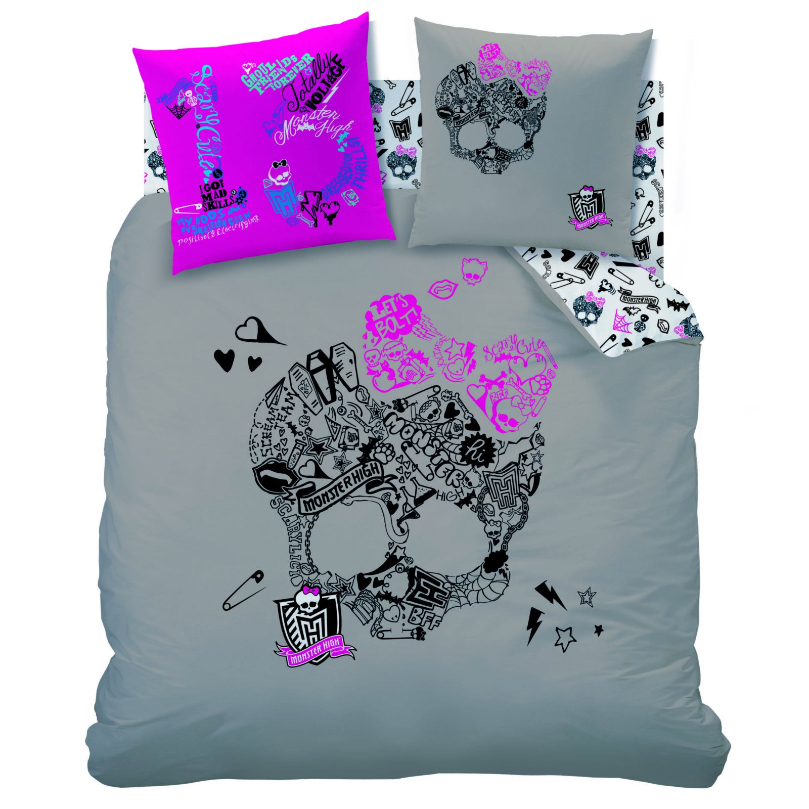 housse de couette monster high parure de lit 240 x 220. Black Bedroom Furniture Sets. Home Design Ideas