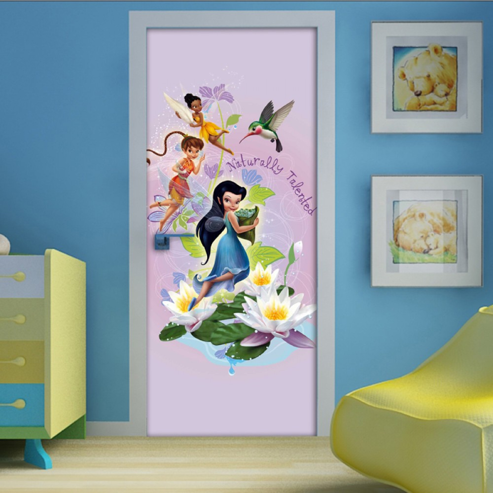 disney fairies d coration murale poster de porte papier peint f e clochette 202x92 cm. Black Bedroom Furniture Sets. Home Design Ideas
