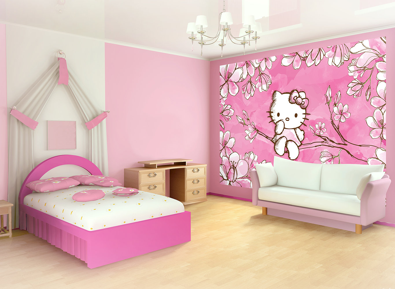 D co chambre fille hello kitty for Chambre enfant fille hello kitty
