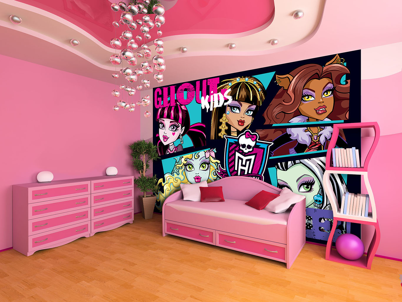 monster high poster papier peint l xxl monster high decokids tous leurs h ros. Black Bedroom Furniture Sets. Home Design Ideas