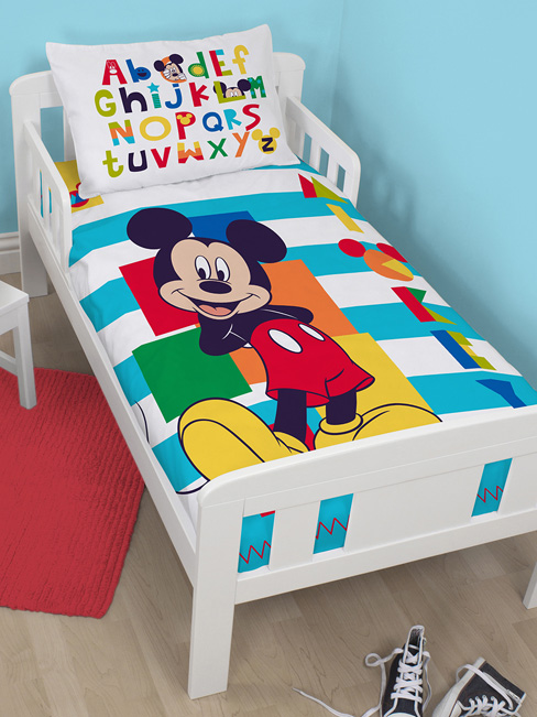 mickey parure de lit housse de couette 120 x 150 cm boo mickey decokids tous. Black Bedroom Furniture Sets. Home Design Ideas